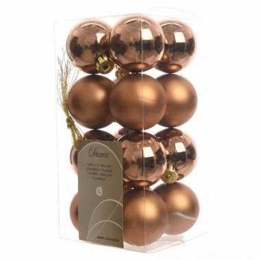 Kerstballen pakket brons glanzend 4 cm