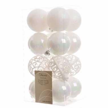 Kerstballen pakket glitter wit 6 cm