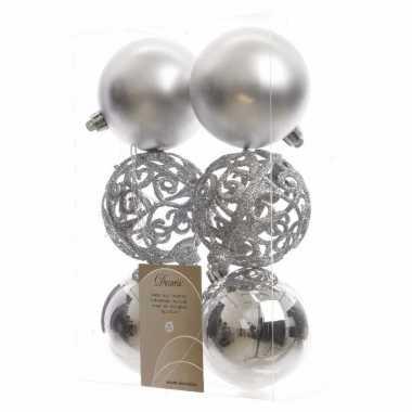 Kerstballen pakket glitter zilver 8 cm