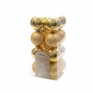 Kerstballen pakket goud glanzend 4 cm