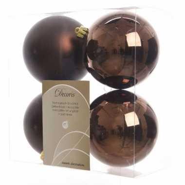 Kerstballen pakket mat bruin 10 cm
