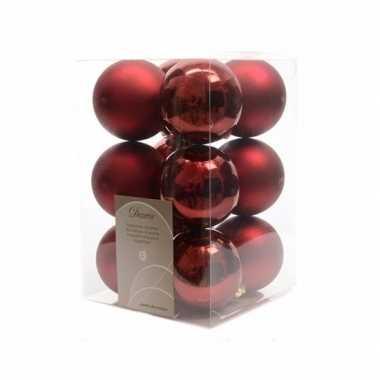 Kerstballen pakket mat donker rood 6 cm