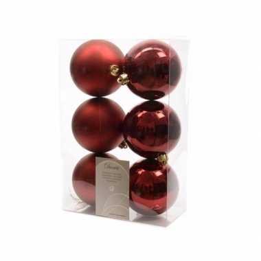 Kerstballen pakket mat donker rood 8 cm