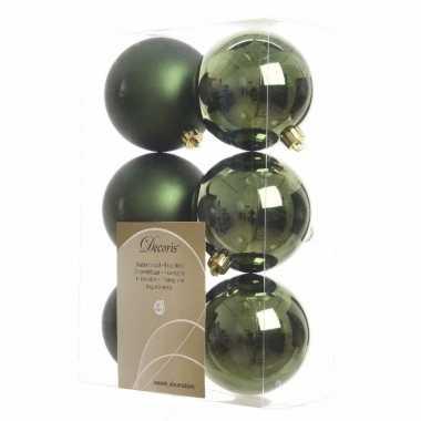 Kerstballen pakket mat groen 8 cm