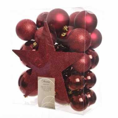 Kerstballen pakket met piek rood