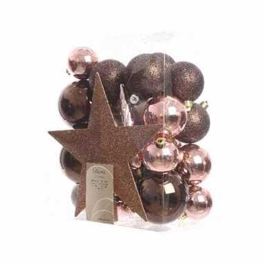 Kerstballen pakket met piek roze/bruin