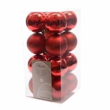 Kerstballen pakket rood glanzend 4 cm
