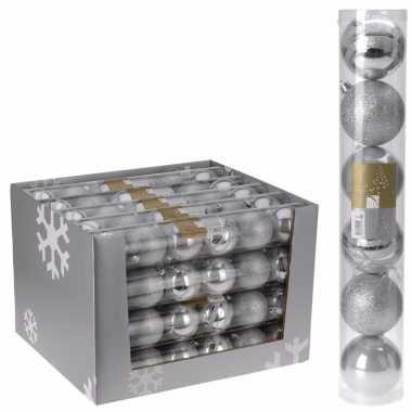 Kerstballen pakket zilver 7 cm