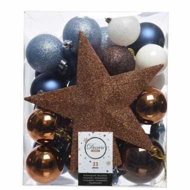 Kerstballen set blauw/bruin/wit kunststof 33 stuks