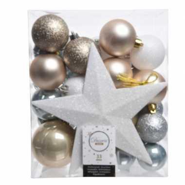 Kerstballen set ijsblauw/goud/wit kunststof 33 stuks
