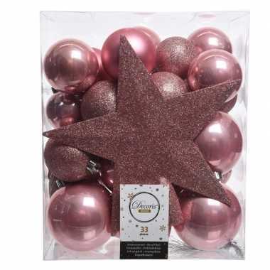 Kerstballen set in het oud roze kunststof 33 stuks