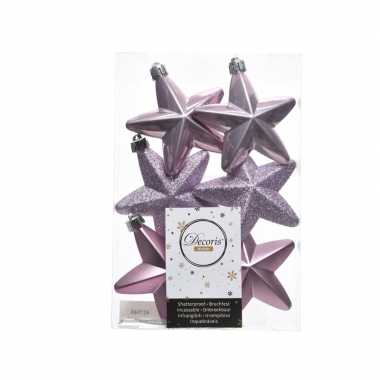 Kerstballen sterren lila paars 6 stuks