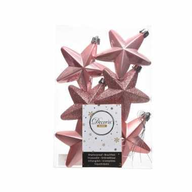 Kerstballen sterren oud roze 6 stuks