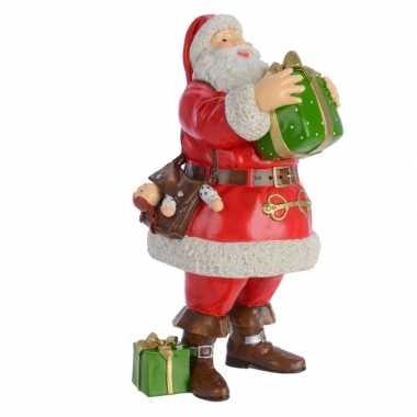 Kerstbeeld kerstman met zak 23 cm