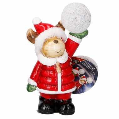 Kerstbeer met led kerst decoratie 17 cm