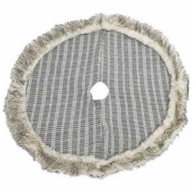 Kerstbomen rok/kleed grijs/geruit met bont rand 90 cm