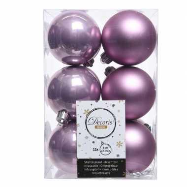 Kerstboom ballen 24x lila paars 6 cm
