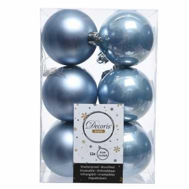 Kerstboom ballen ijsblauw 6 cm