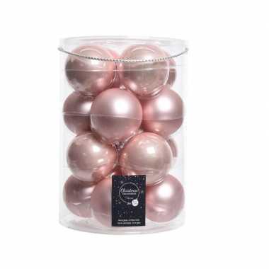 Kerstboom ballen roze 8 cm