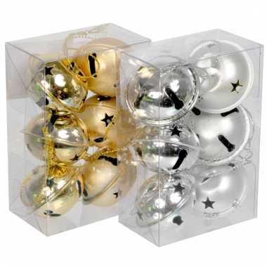 Kerstboom belletjes goud 6 stuks