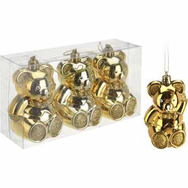 Kerstboom decoratie beer kerstballen goud 5 cm