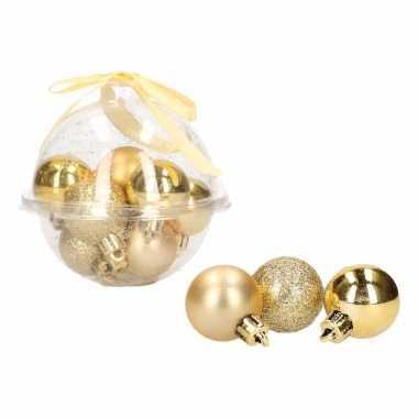 Kerstboom decoratie gouden mini kerstballetjes 3 cm 12 stuks