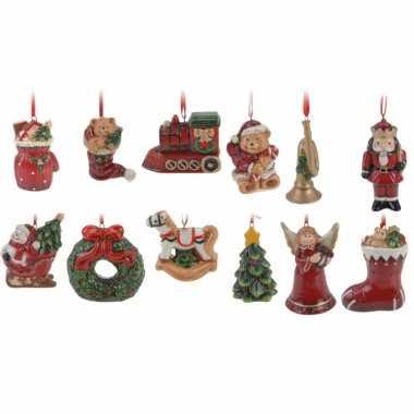 Kerstboom decoratie hangers setje 12 stuks 8 cm
