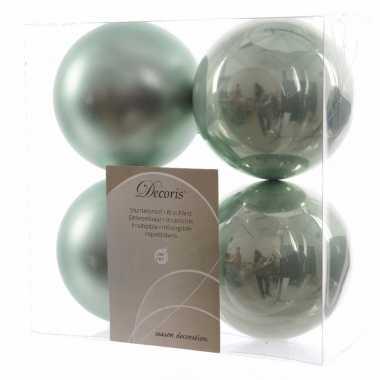 Kerstboom decoratie kerstballen 10 cm mix mint 8 stuks
