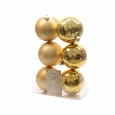 Kerstboom decoratie kerstballen mix goud 12 stuks