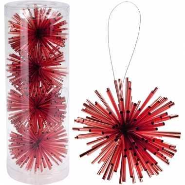 Kerstboom decoratie kerstbol rood 8 cm