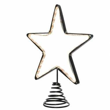Kerstboom decoratie piek verlichte kerstster 22 cm