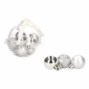 Kerstboom decoratie zilveren mini kerstballetjes 3 cm 12 stuks