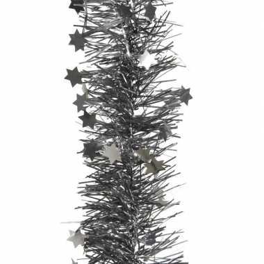 Kerstboom folie slinger met ster antraciet 270 cm