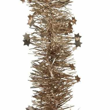 Kerstboom folie slinger met ster bruin 270 cm