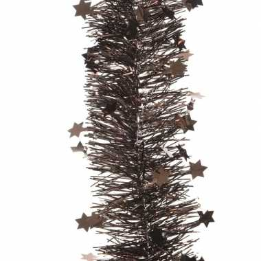 Kerstboom folie slinger met ster donker bruin 270 cm