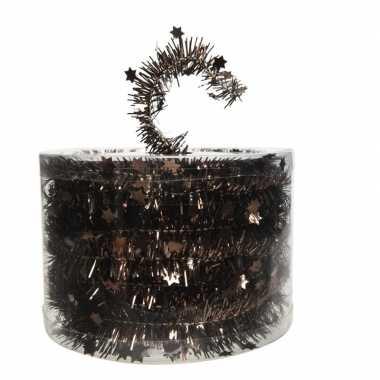 Kerstboom folie slinger met ster donker bruin 700 cm