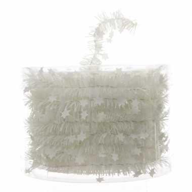 Kerstboom folie slinger met ster donker wit 700 cm
