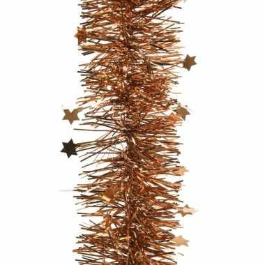 Kerstboom folie slinger met ster koper bruin 270 cm