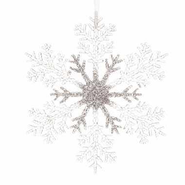 Kerstboom hangertje zilveren sneeuwvlok 32 cm