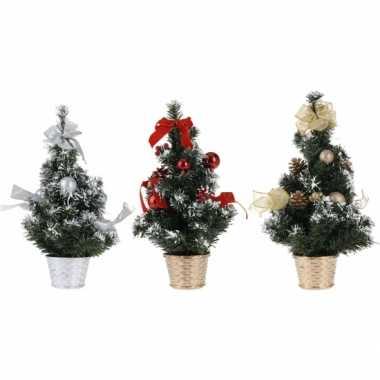 Kerstboom met decoratie zilver 40 cm