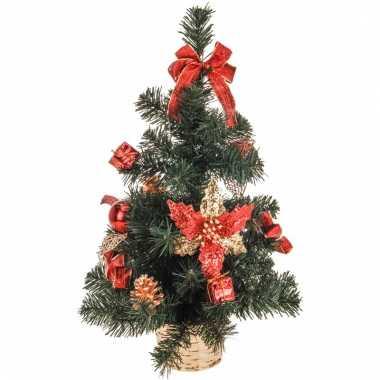 Kerstboom met versiering rood/goud 50 cm