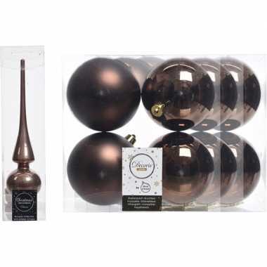 Kerstboom optuigen set bruin glazen piek en 12x kunststof ballen 10 c