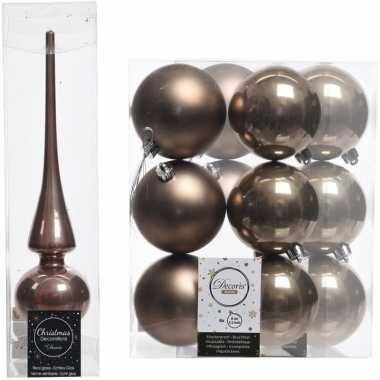 Kerstboom optuigen set bruin glazen piek en 12x kunststof ballen 8 cm