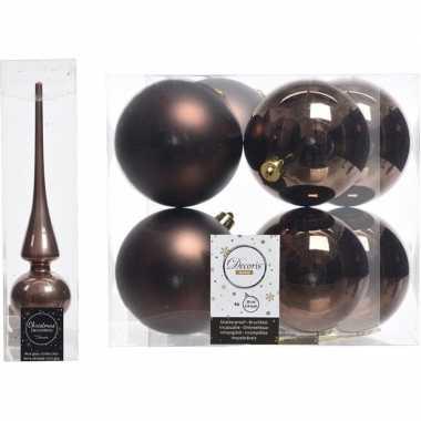 Kerstboom optuigen set bruin glazen piek en 8x kunststof ballen 10 cm