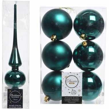 Kerstboom optuigen set smaragd groen glazen piek en 6x kunststof ball