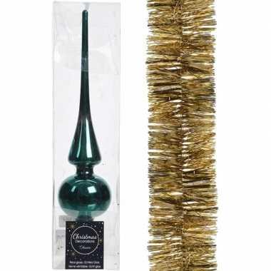 Kerstboom optuigen set smaragd groen glazen piek en kerstslinger goud