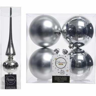 Kerstboom optuigen set zilver glazen piek en 4x kunststof ballen 10 c