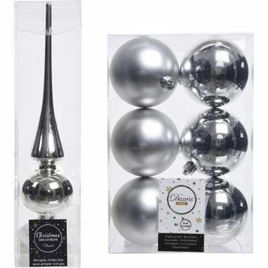 Kerstboom optuigen set zilver glazen piek en 6x kunststof ballen 8 cm