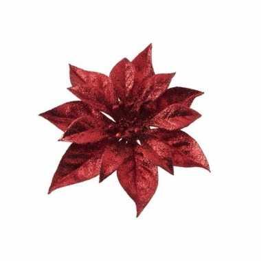 Kerstboom versiering rode kerstbloem 1 stuk