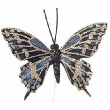 Kerstboomhanger/kersthanger blauw/gouden vlinders 6 cm op ijzerdraad